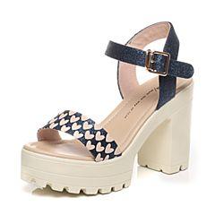 Tata/他她夏季专柜同款深兰亮片布女凉鞋2W110BL6