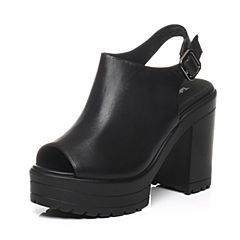 Tata/他她春季专柜同款黑色小牛皮女凉鞋2U505AL6