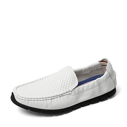 Tata/他她2016夏季专柜同款白色压纹牛皮革/牛皮革男单鞋U2591BM6 专柜1