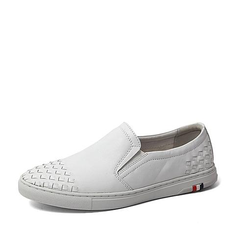 Tata/他她2016夏季专柜同款白色软面牛皮男单鞋U250DBM6 专柜1