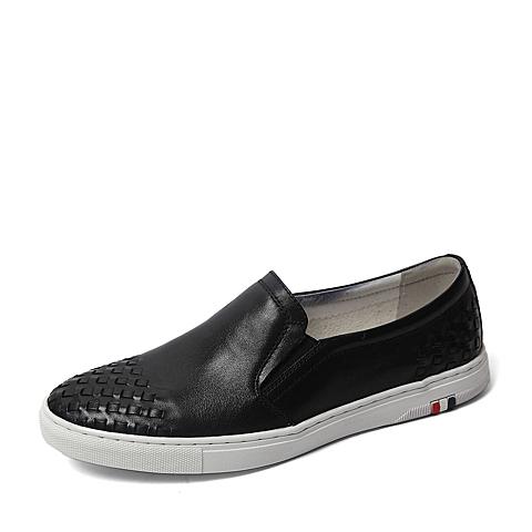Tata/他她夏季专柜同款黑色软面牛皮男单鞋U250DBM6 专柜1