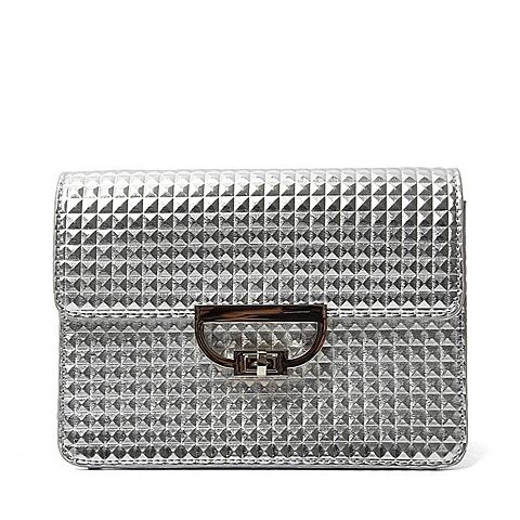 Tata/他她夏季专柜同款银色贴膜人造革女手袋X1642BX6 专柜1