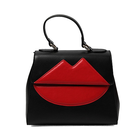 Tata/他她2016年夏季专柜同款黑/红色油蜡人造革女手袋X1655BX6 专柜1