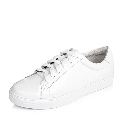 Tata/他她春季白色牛皮时尚休闲女单鞋2BX96AM6