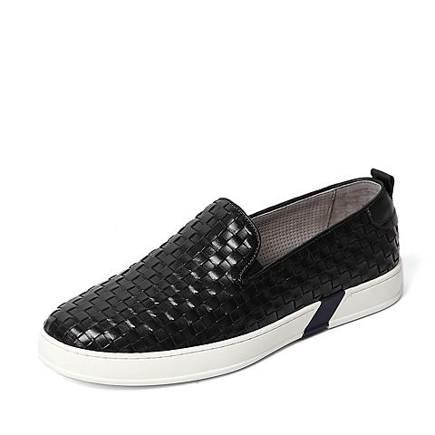 Tata/他她夏季专柜同款黑色编织牛皮时尚休闲男单鞋U2572BM6
