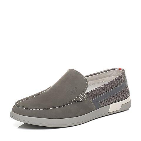 Tata/他她2016夏季专柜同款灰色牛皮革/织物男单鞋U254DBM6 专柜1