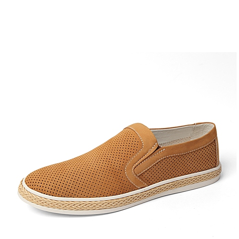 Tata/他她夏季专柜同款棕黄磨砂牛皮时尚休闲男单鞋F6631BM6 专柜1