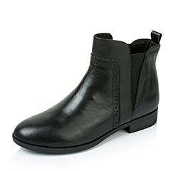 Tata/他她2016秋季黑色牛皮女短靴2I254CD6