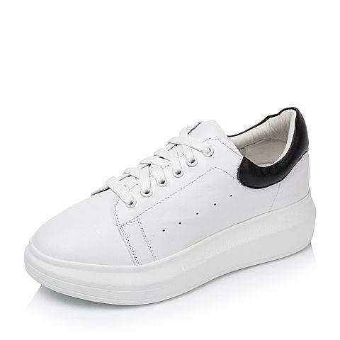 Tata/他她秋季白/黑色牛皮时尚百搭小白鞋女休闲鞋2CL79CM6