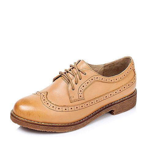 Tata/他她秋季棕色牛皮女单鞋2FG77CM6