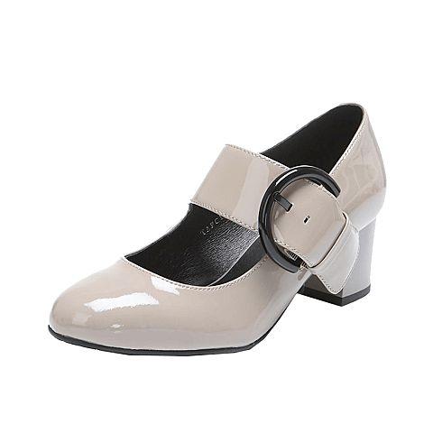 Tata/他她秋季专柜同款灰色漆牛皮女单鞋FC101CQ6