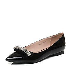 Tata/他她秋黑色漆牛皮甜美水晶蝴蝶结尖头方跟浅口女鞋NU311CQ6