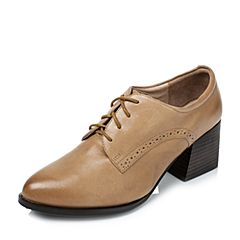 Tata/他她2016秋季专柜同款棕色油蜡羊皮女皮鞋LFE12CM6