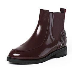 Tata/他她冬季酒红色牛皮时尚铆钉通勤套筒方跟女短靴2YWD6DD6