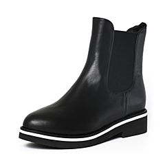 Tata/他她冬季黑色牛皮时尚休闲方跟女短靴FE341DD6