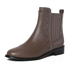 Tata/他她冬季灰色牛皮铆钉通勤方跟女皮靴FG242DD6