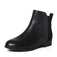 Tata/他她冬季黑色时尚拼接风编织方跟女短靴2YWA4DD6