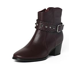 Tata/他她冬季暗红色时尚通勤女靴FG342DD6