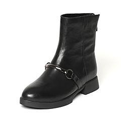 Tata/他她冬季专柜同款黑色小牛皮女休闲靴FE360DZ6