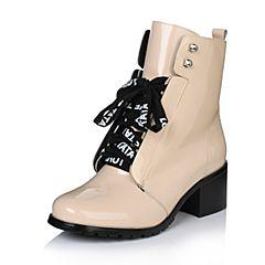Tata/他她冬季专柜同款粉色牛皮女皮靴FTU40DD6