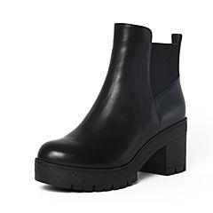 Tata/他她冬季黑色牛皮通勤简约套筒粗高跟女短靴FE641DD6