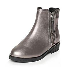 Tata/他她冬灰色牛皮通勤简约方跟女短靴2YWF2DD6