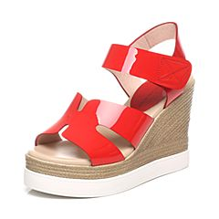 Tata/他她夏季红色牛皮女凉鞋2OX18BL6