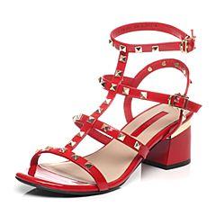 Tata/他她夏季红色牛皮潮流铆钉时尚罗马风粗跟女皮凉鞋2R301BL6