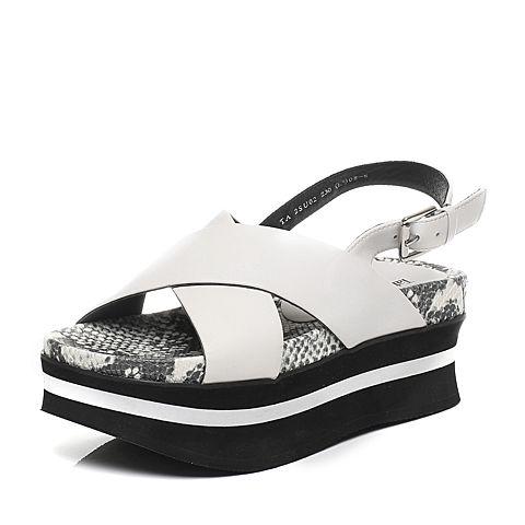 Tata/他她夏季白色牛皮女皮凉鞋2SU02BL6
