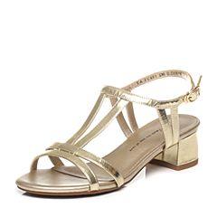 Tata/他她夏季金色牛皮女凉鞋2US01BL6
