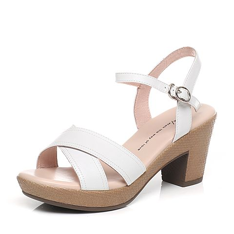 Tata/他她夏季白色羊皮时尚简约女凉鞋WU202BL6