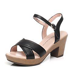 Tata/他她夏季黑色羊皮时尚简约女凉鞋WU202BL6