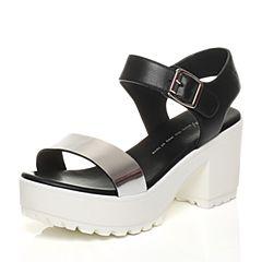 Tata/他她春季黑银色小牛皮时尚金属风粗跟女皮凉鞋2X202BL6