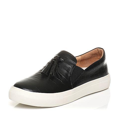 Tata/他她春季黑色石头纹羊皮流苏厚底休闲女皮鞋WU107AM6