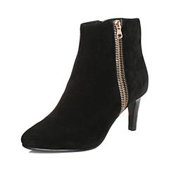 Tata/他她冬季黑色羊皮绒面通勤简约粗高跟女皮靴33U43DD6