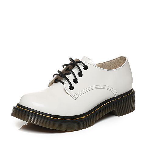 Tata/他她秋白色牛皮时尚绑带方跟女休闲鞋FZU20CM6