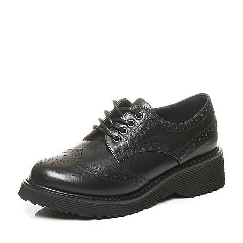 Tata/他她秋黑色牛皮英伦雕花绑带布洛克款女皮鞋2DO24CM6