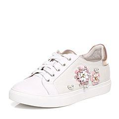 Tata/他她2017年春季专柜同款白色斜纹布女休闲鞋FDC21AM7