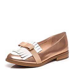 Tata/他她2017春季专柜同款粉/纯白时尚女皮鞋2I2G3AQ7