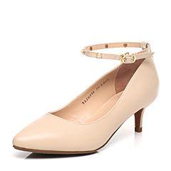 Tata/他她2017年春季专柜同款浅杏色牛皮玛丽珍女鞋2MF06AQ7