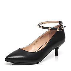 Tata/他她2017年春季专柜同款黑色小牛皮玛丽珍女鞋2MF06AQ7