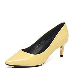 Tata/他她2017春季专柜同款黄色珠光漆牛皮女皮鞋FB807AQ7