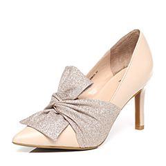 Tata/他她2017年春季专柜同款米粉色浪漫优雅蝴蝶结牛皮女鞋FDO01AQ7