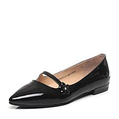 Tata/他她2017春季专柜同款黑色漆牛皮水钻花朵尖头女玛丽珍鞋FF104AQ7