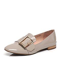 Tata/他她2017春季专柜同款灰色漆牛皮女单鞋FJ102AQ7