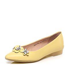Tata/他她2017春季专柜同款黄色羊皮女单鞋FL906AQ7