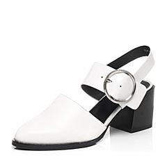 Tata/他她2017年春季专柜同款白色牛皮女皮凉鞋2I809AH7