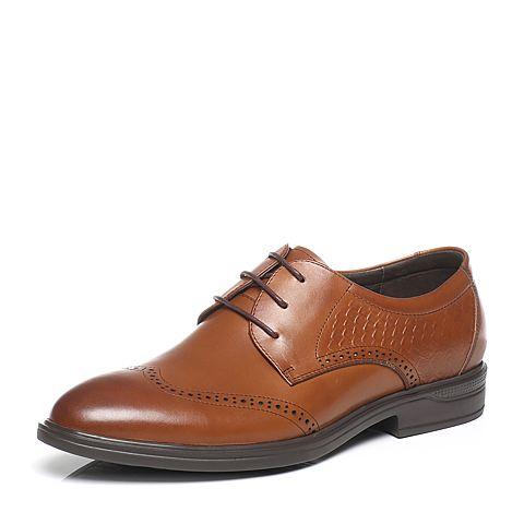 Tata/他她春季棕色牛皮男皮鞋2Y732AM7
