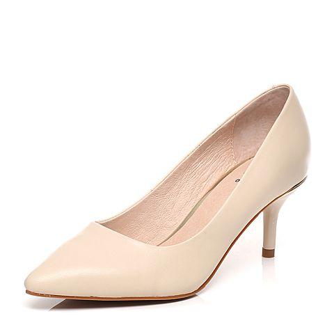 Tata/他她2017年春季米色羊皮浅口女皮鞋FB717AQ7