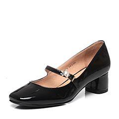 Tata/他她2017年春季黑色漆牛皮时尚水钻星星一字带女玛丽珍鞋FH701AQ7